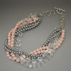 Pink, Gray and Clear Crystals Multistrand Necklace