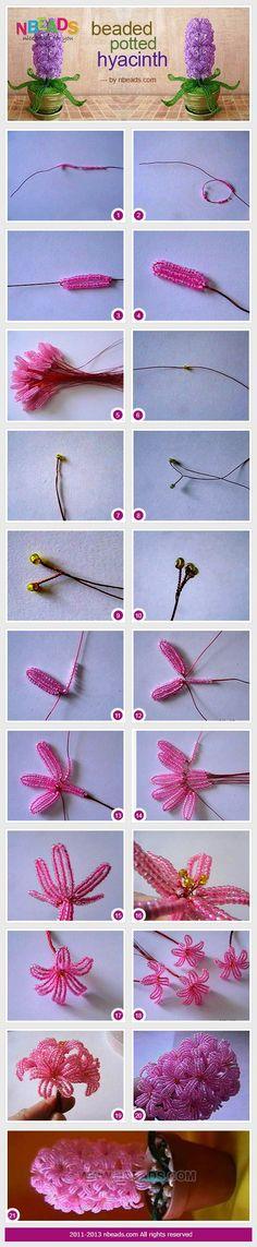 beaded potted hyacinth  #diy #beading #beadwork #cbloggers