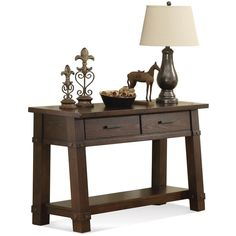 Riverside Furniture Windridge Console Table featuring polyvore, home, furniture, tables, accent tables, hardware furniture, expandable console table, extendable table, butterfly leaf table and storage table