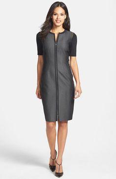 Elie Tahari 'Frankie' Mixed Media Sheath Dress available at #Nordstrom