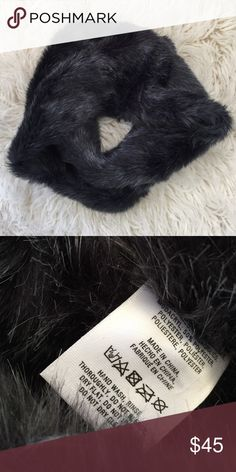 Anthropologie faux fur infinity scarf Worn once • from holiday 2015 • in great condition • color is a midnight blue Anthropologie Accessories Scarves & Wraps
