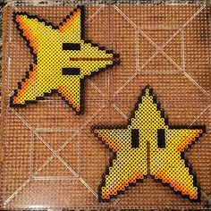 Mario star Christmas tree topper perler beads by mombiecantrell