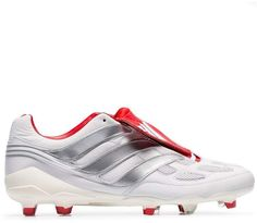 cf26f7de3f32 adidas white, red and silver X Beckham Predator Accelerator studded leather football  boots
