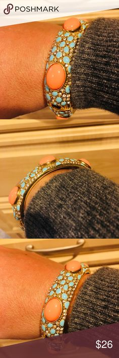 Stella and Dot Bangle! Turquoise, CZ& Coral look Stella and Dot Bangle! Turquoise, CZ& Coral looking  Hinge closure. Gold tone  Excellent condition. Matching Earrings in closet are sold! No box or tags. Never worn other than to try on. Bundle and Save more.  No trades. Happy Poshing! 💍💄👠👗 Stella & Dot Jewelry Bracelets