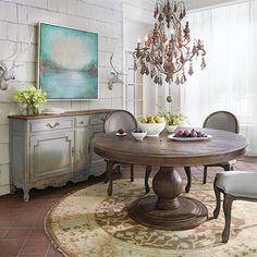 """Lara 48"""" Round Pedestal Dining Table in Brown"""