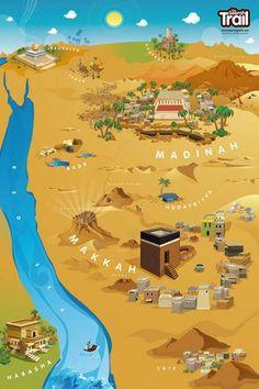 The Seerah Trail (Poster) Islamic Books For Kids, Islam For Kids, Hajj Pilgrimage, Mecca Wallpaper, Mekka, Islamic Posters, Islamic Studies, Islamic Paintings, Islamic Messages