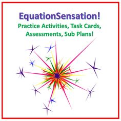 It's the EquationSensation Bundle! Save over 20% when purchasing rather than buying the products individually. This money-saving bundle contains all my equations products and activities:   *Simple, Moderate, Challenging Equations Mini Assessments  * Mini Lesson/Assessment/Sub Plans  *Zombie Hunt Task Cards Activity  * Turkey Trot Equations Olympics!  Every equation is different, so you'll have many opportunities to practice and differentiate with your students.