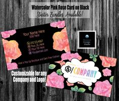 WaterColor Roses on Black Business Card - Home Office Approved - Compliant Fonts/Colors - Bundles Available -Pink Rose Card -Optional Punch Black Business Card, Elegant Business Cards, Standard Business Card Size, Lularoe Business Cards, Printing Services, Online Printing, Lipsense Business Cards, Jamberry Business, Name Logo