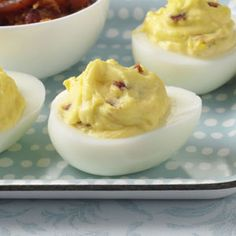 Bacon-Cheddar Deviled Eggs Recipe from Taste of Home -- shared by Laura LeMay of Deerfield Beach, Florida