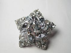 Vintage Silvertone Rhinestone Star Brooch with Raised Center - Very Nice #Unbranded