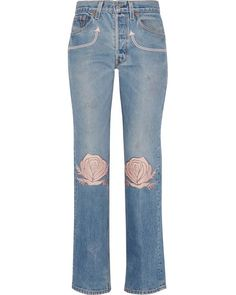 fc1b4615 Women's Blue Song Of The West Embroidered Mid-rise Straight-leg Jeans