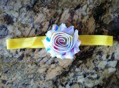 Multi-dot shabby chiffon flower headband. $4