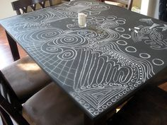 Turn an old, scarred up table into a Chalkboard Table.  What fun for the family to play with!  Wipes clean with a damp sponge, too.  Great for score keeping!