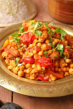Moroccan-style Moghrabieh Couscous Coriander Cilantro, Fresh Coriander, Roasted Vegetables, Veggies, Couscous Recipes, Creative Food, Moroccan Style, Food Inspiration, Easy Meals