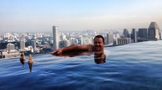 💕Scott floating in Paradise infinity pool on the 57th floor Marina Bay Sands Hotel Singapore