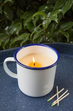 How to Make DIY Citronella Candles - Keep pests at bay with these homemade mosquito-repelling candles. Candle Jars, Candle Holders, Organic Gardening Tips, Organic Farming, Citronella Candles, Homemade Candles, Diy Camping, How To Make Diy, My Secret Garden