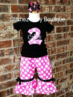 Custom Girls Applique Black and Hot Pink Birthday Ruffle Capri or Pant Outfit Perfect for Minnie Mouse Birthday SET with M2M hairbow
