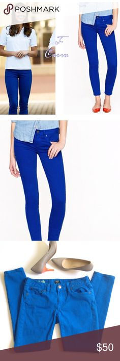 Listing! Cobalt blue J. Crew matchstick jeans Deep, vibrant blue adds a perfect POP of color to your wardrobe! Pair with colored heels & printed blouse for an instant chic look! Inseam is 26 & 1/2in. and waist is 14 & 1/4in. J. Crew Jeans Skinny