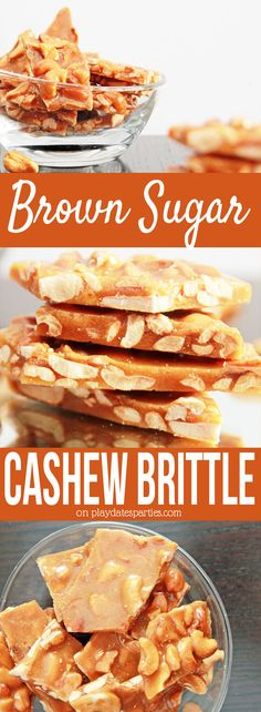 Brown Sugar Cashew Brittle: If you like peanut brittle, you will LOVE this #recipe for brown sugar cashew brittle. It is perfectly crunchy and sweet, with amazing hints of toffee and vanilla. Perfect for the #holidays or any special occasion. https://playdatesparties.com/12-days-holiday-candy-brown-sugar-cashew-brittle/