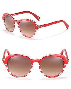 8be3a2523e98 Dior Striped Rounded Wayfarer Sunglasses