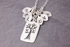 Family Necklace  tree of life initial necklace by MegusAttic, $29.00