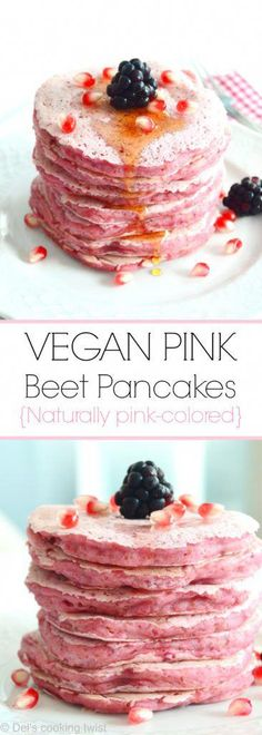 Pink Beet Pancakes (for Pink October!) — Del's cooking twist Vegan Pink Beet Pancakes (for Pink October!)Vegan Pink Beet Pancakes (for Pink October! Vegan Breakfast Recipes, Vegan Desserts, Paleo Recipes, Paleo Ideas, Pancake Recipes, Healthy Breakfasts, Plated Desserts, Breakfast And Brunch, Diet Breakfast