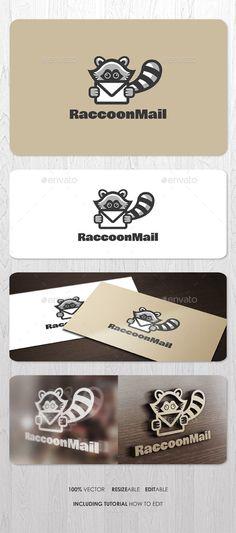 Raccoon Mail  Logo Design Template Vector #logotype Download it here: http://graphicriver.net/item/raccoon-mail-logo/9520778?s_rank=1567?ref=nesto