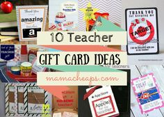 10 Teacher Gift Card Ideas with Free Printables - check out this post for some great inspiration (and free printables) for teacher gifts featuring gift cards!