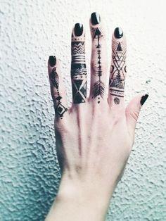 Retro, boho. bohemian, cool tatoos on fingers and black nails