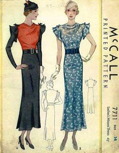 1930s Lanvin dress pattern - McCall 7711