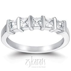 5 Stone Contemporary Bar Set Princess Cut Diamond Anniversary Ring (0.70 ct. tw)