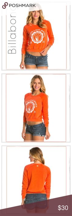 Billabong Peace Love & Waves Sweater/Sweatshirt ✨Billabong Peace Love And Waves Sweater/Sweatshirt✨Soft Burnout Fabric✨60% Cotton/40% Polyester✨Relaxed Comfy Fit✨Crew Neck✨Ribbed Sleeve Cuffs And Hem✨Billabong Logo Patch In Back At Neck✨Color Is Poppy✨Size Large✨ Billabong Tops Sweatshirts & Hoodies