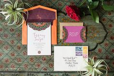 5x7 Exotic Asian/Eastern Wedding Invitation with Wood Textures, Includes RSVP & Envelope Liner