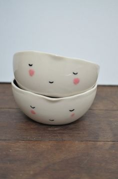 Ceramic face bowl smile small by GailCCceramics on Etsy