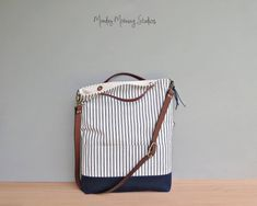 6cdfe098cc7 Summer Tote Bag in Vintage Style Cotton Ticking and Navy Blue Waxed Canvas  with Leather Strap, Convertible Foldover Bag in 2 Sizes