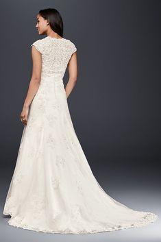 Satin Wedding Dresses Cap Sleeve Lace Over Satin Wedding Dress Western Wedding Dresses, Wedding Dress Sizes, Perfect Wedding Dress, Bridal Dresses, Sheath Wedding Gown, Wedding Gowns, Lace Wedding, Formal Wedding, Trendy Wedding