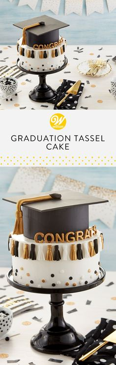 This Graduation Tassel Cake, completed with a gum paste graduation cap and fondant tassels, is the perfect cake for celebrating your graduate's accomplishments! Customize the message for a personal touch! Graduation Celebration, Celebration Cakes, Cakes For Graduation, Graduation Desserts, Graduation Ideas, Fondant Cakes, Cupcake Cakes, Graduation Tassel, Two Layer Cakes