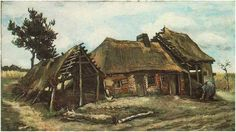 Vincent van Gogh Cottage with Decrepit barn and Stooping Woman Painting