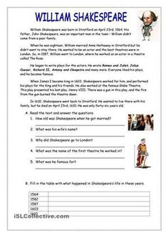 This is a reading worksheet about William Shakespeare with Simple Past Tense. I hope it will be useful for you. - ESL worksheets