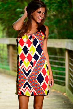 How adorable is this dress?! The diamond pattern with the fun, vibrant colors is amazing!