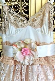 ivory pale peach & nude lace tulle boho by mermaidmisskristin, $175.00
