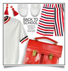 """""""Go Back-to-School Shopping!"""" by ewa-naukowicz-wojcik ❤ liked on Polyvore featuring WithChic, Thom Browne, Vans, J.Crew and BackToSchool"""