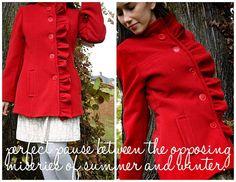 Red coat. The tutorial is here:  http://grosgrainfabulous.blogspot.com/2010/09/thrift-store-thursday-bittersweet.html