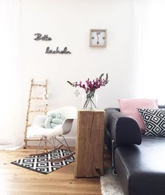 Holz Holzklotz DIY Holzboden Teppich Blumen Vase Kissen