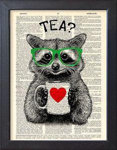 Wasbeer art print, thee tijd, woordenboek Print, affiche, mok thee, Book pagina