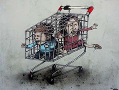 French street artist Dran uses his art to comment on issues concerning contemporary society. Being donned 'the French Banksy' by some, his approach to stre 3d Street Art, Murals Street Art, Street Art Graffiti, Street Artists, Banksy Graffiti, Bansky, Art Français, Les Religions, French Street