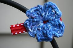 Red Ribbon Blue Flower Hair Clip by AMedleyofJen on Etsy, $1.75