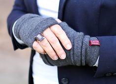 3a4fdde04 Denim Blue Cashmere Fingerless Gloves. Turtle Doves