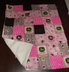 Pink John Deere Blanket I made for my Sis In law.. :)