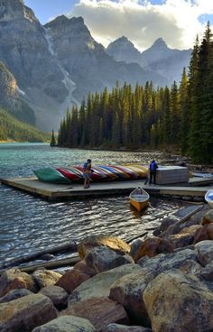 This photo was taken at Moraine Lake in Banff National Park located in Alberta, Canada. Places Around The World, Oh The Places You'll Go, Places To Travel, Places To Visit, Travel Destinations, Lago Moraine, Parque Natural, Parc National, National Forest